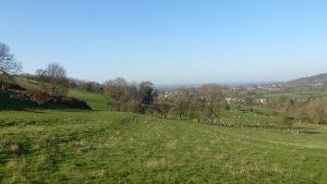 Pastures overlooking village